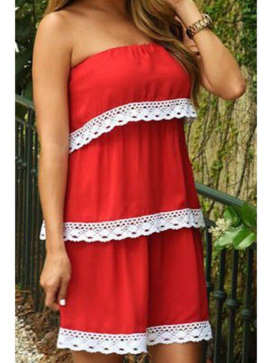 best Lace Spliced Strapless Dress - RED S