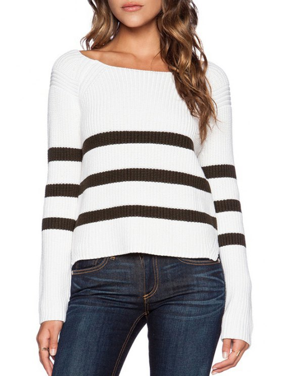 trendy Long Sleeve Striped Color Block Side Slit Sweater - WHITE ONE SIZE(FIT SIZE XS TO M)