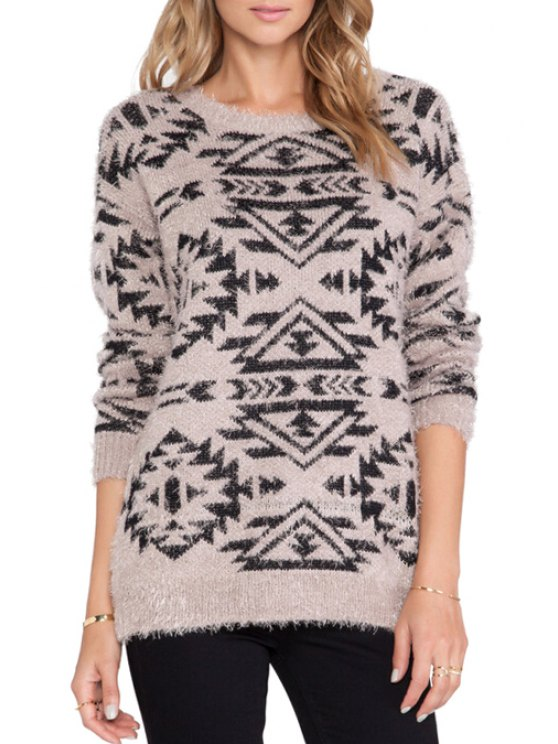 fashion Geometric Pattern Loose-Fitting Knitwear - LIGHT BROWN ONE SIZE(FIT SIZE XS TO M)