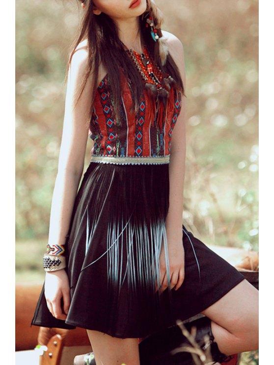 fashion Spaghetti Strap Argyle Pattern Tassel Splicing Dress - BLACK XS