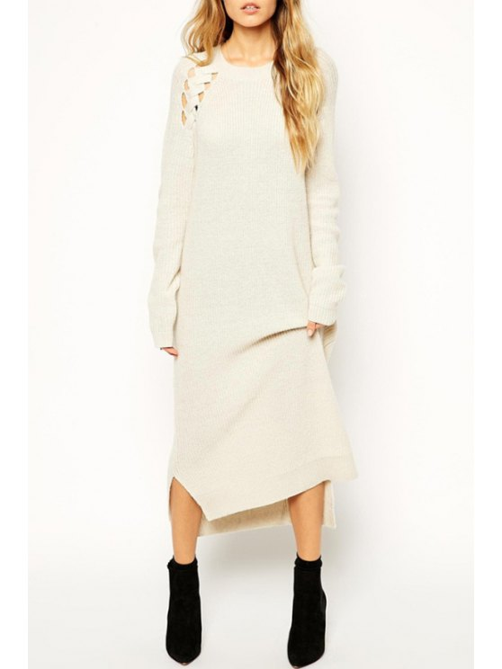 outfits Openwork High-Low Hem Side Slit Sweater Dress - WHITE ONE SIZE(FIT SIZE XS TO M)