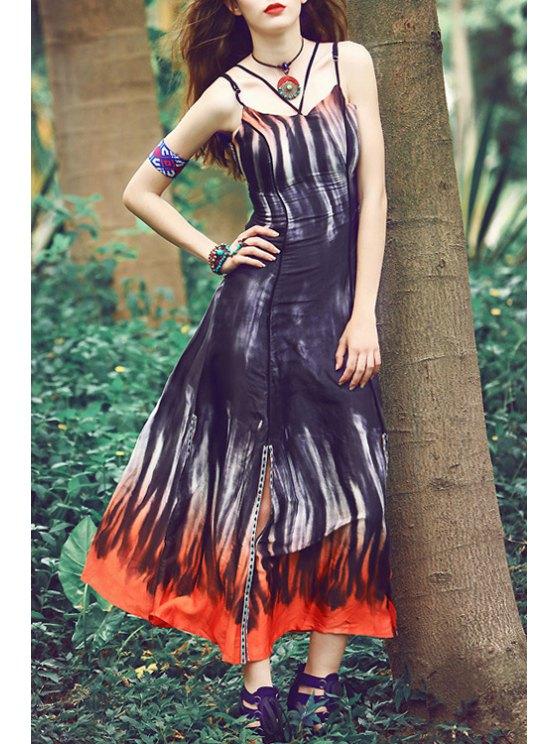 sale Spaghetti Strap Color Block Tie Dye Dress - BLACK XS