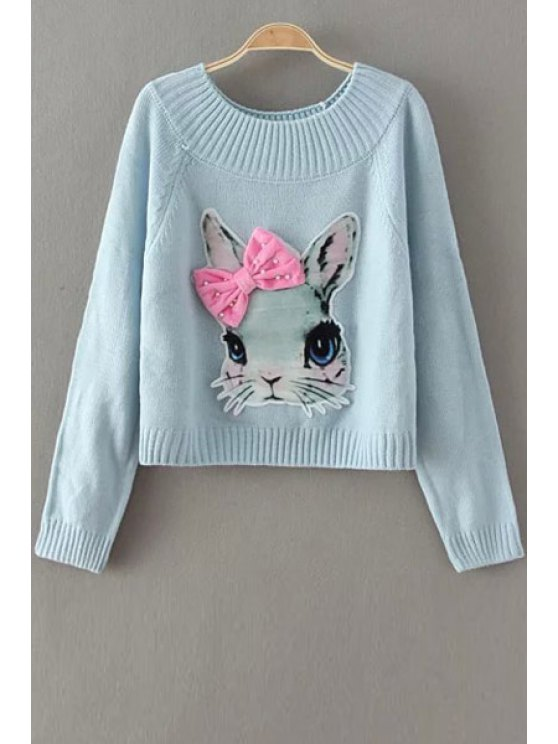shop Jewel Neck Rabbit Pattern Sweater - BLUE ONE SIZE(FIT SIZE XS TO M)