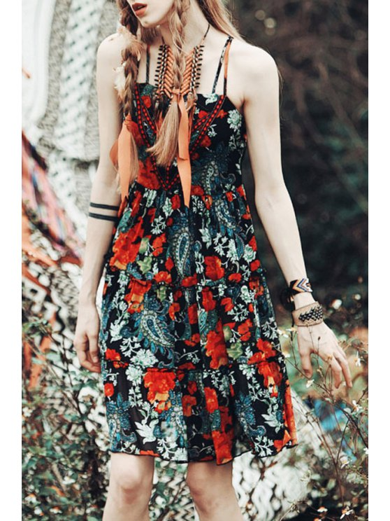 women Spaghetti Strap Colorful Floral Print Sleeveless Dress - RED WITH BLACK XS