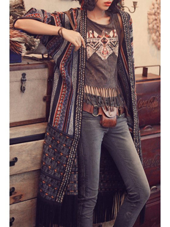 women's Color Block Stripe Fringe Long Sleeve Blouse - DEEP GRAY ONE SIZE(FIT SIZE XS TO M)