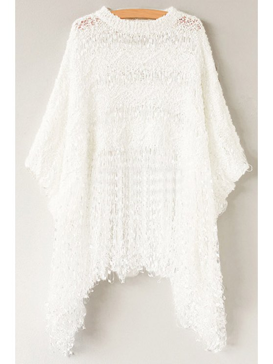 fancy Hollow Tassels 3/4 Sleeve Sweater - WHITE ONE SIZE(FIT SIZE XS TO M)