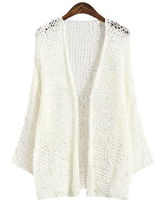sale Solid Color Openwork Loose-Fitting Cardigan - WHITE ONE SIZE(FIT SIZE XS TO M)
