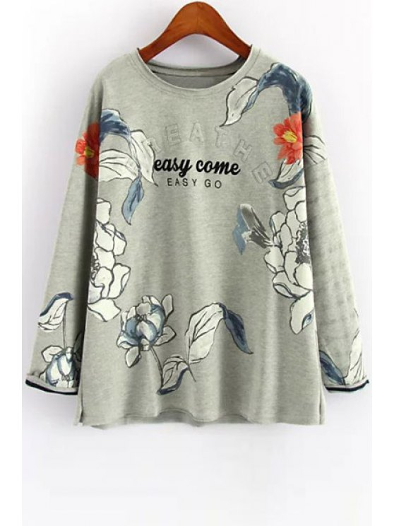 fashion Flowers Print Long Sleeve Sweatshirt - GRAY ONE SIZE(FIT SIZE XS TO M)