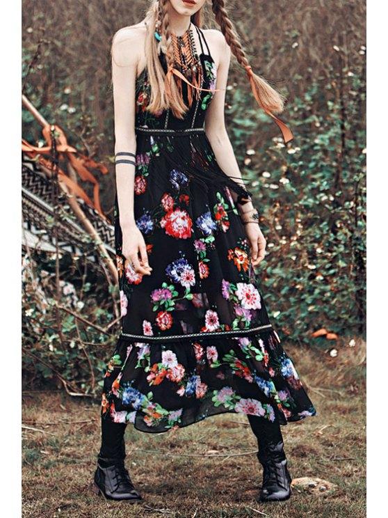 online Spaghetti Strap Cross Floral Print Sleeveless Dress - BLACK S