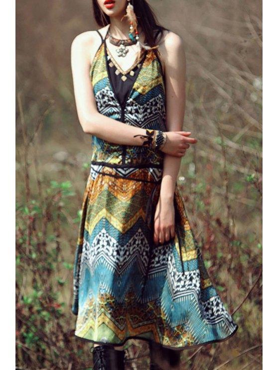 shop Spaghetti Strap Zig Zag Printed Sleeveless Dress - COLORMIX S