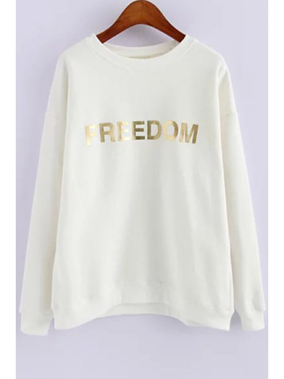 fancy Golden Letter Print Long Sleeve Sweatshirt - WHITE ONE SIZE(FIT SIZE XS TO M)