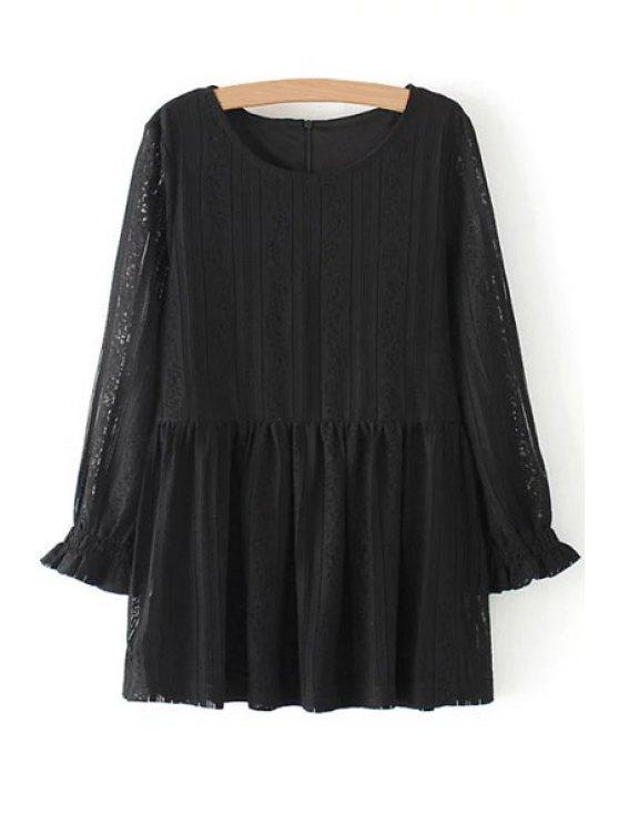 best Lace Ruffles Long Sleeve Blouse - BLACK S