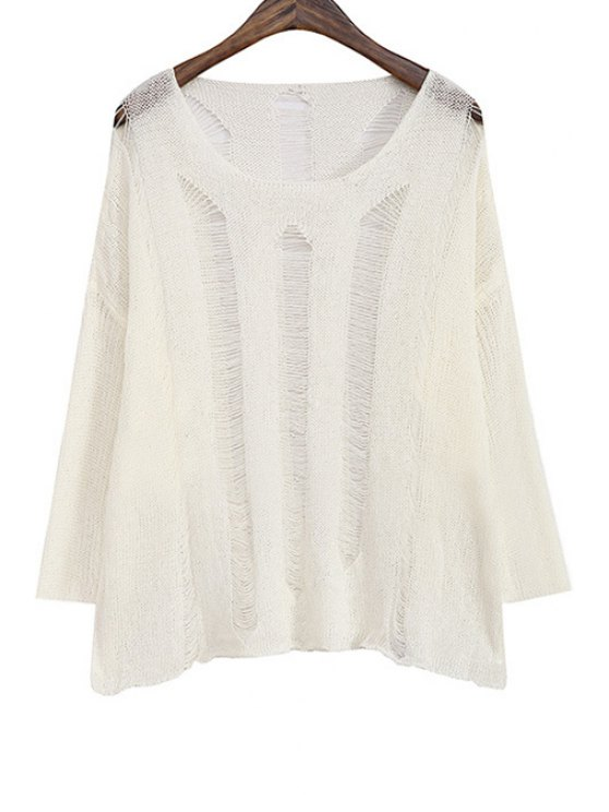 women Solid Color Hollow Out Loose-Fitting Sweater - WHITE ONE SIZE(FIT SIZE XS TO M)