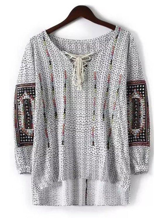 fashion Print V Neck Nine-Minute Sleeve Blouse - WHITE S