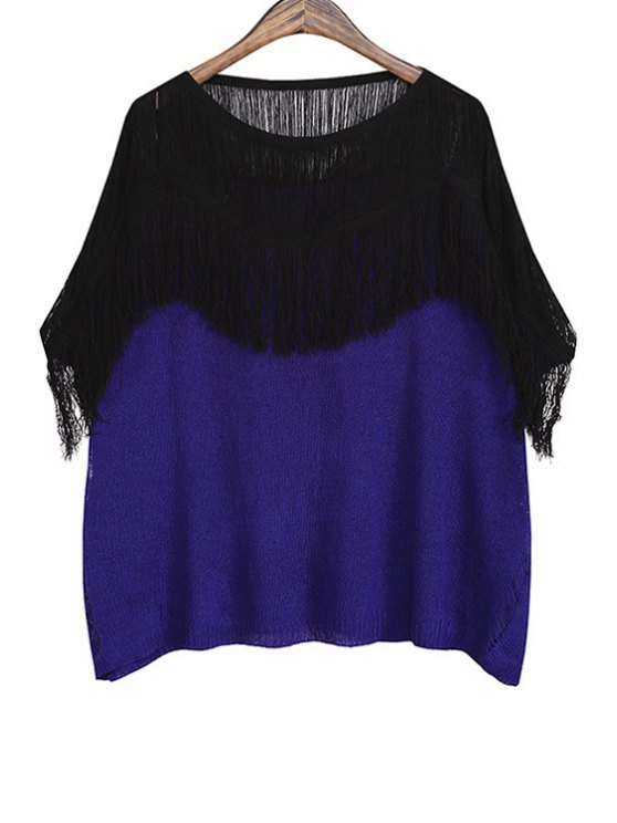 best Color Block Tassels Spliced Hollow Sweater - SAPPHIRE BLUE ONE SIZE(FIT SIZE XS TO M)
