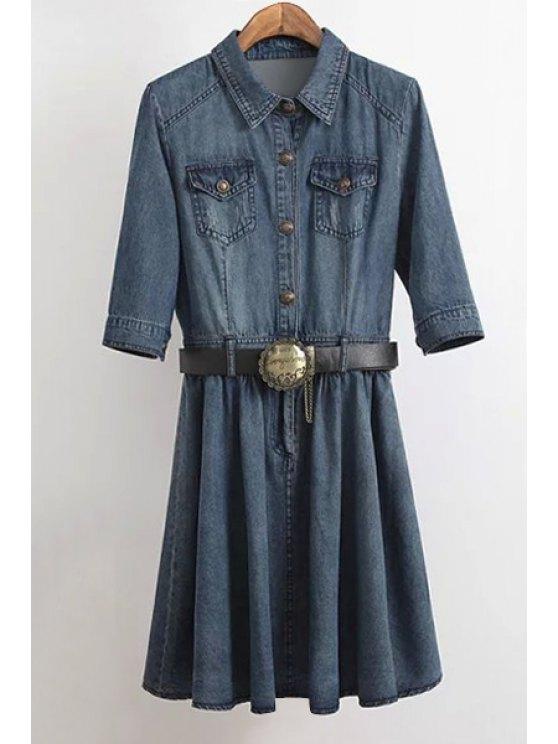 fancy Denim Turn Down Collar Half Sleeve Dress - BLUE M