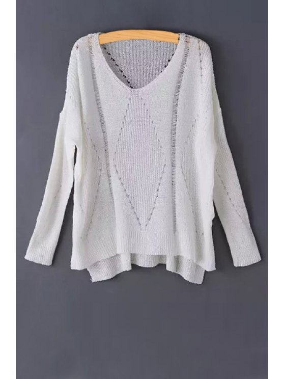 buy Pure Color Hollow Long Sleeve Sweater - WHITE ONE SIZE(FIT SIZE XS TO M)