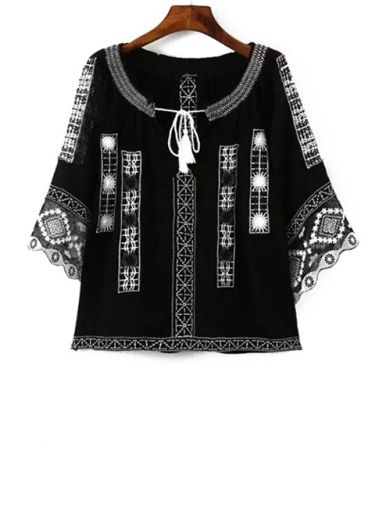women's Ethnic Embroidery 3/4 Sleeve Blouse - BLACK S