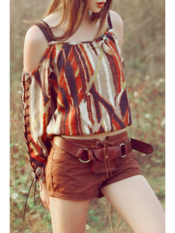 ladies Spaghetti Strap Color Block Printed Long Sleeve T-Shirt - COLORMIX S