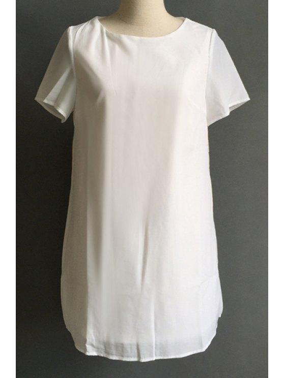 shop Solid Color Jewel Neck Short Sleeve Dress - WHITE S
