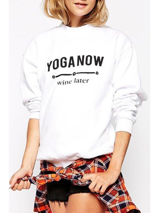 outfits Black Letter Print Long Sleeve Sweatshirt - WHITE XL