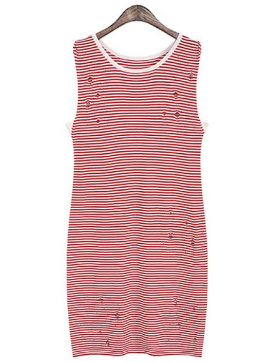 latest Striped Broken Hole Sweater Dress - RED ONE SIZE(FIT SIZE XS TO M)