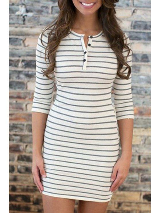 womens Jewel Neck Stripe Buttons Half Sleeve Dress - WHITE S