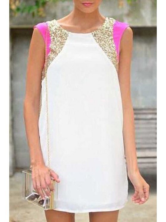 ladies Sequins Spliced Sleeveless Dress - WHITE S