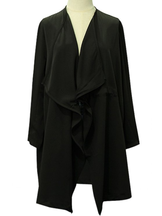 hot Solid Color Loose-Fitting Drawstring Trench Coat - BLACK XS