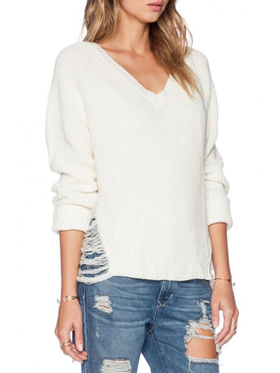 affordable White Broken Hole Long Sleeve Sweater - WHITE ONE SIZE(FIT SIZE XS TO M)