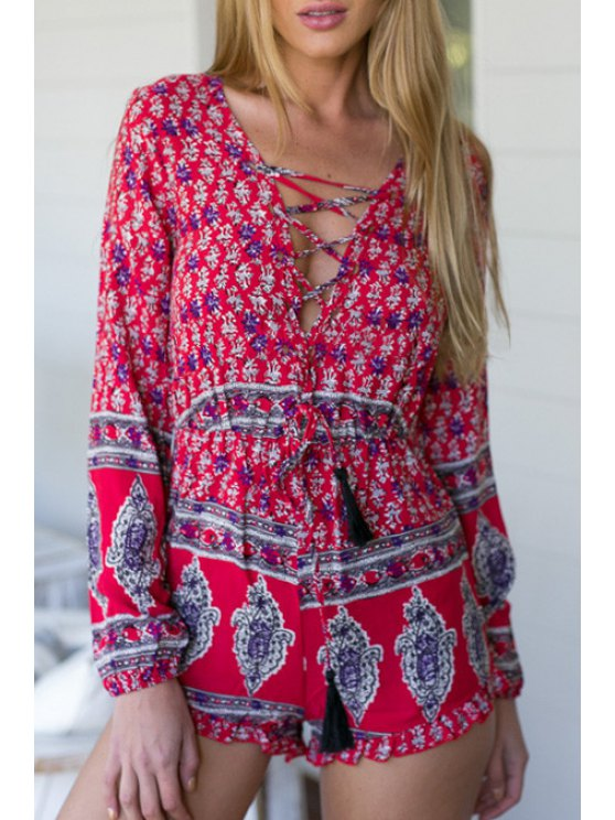 womens Vintage Print Plunging Neck Long Sleeve Playsuit - RED S