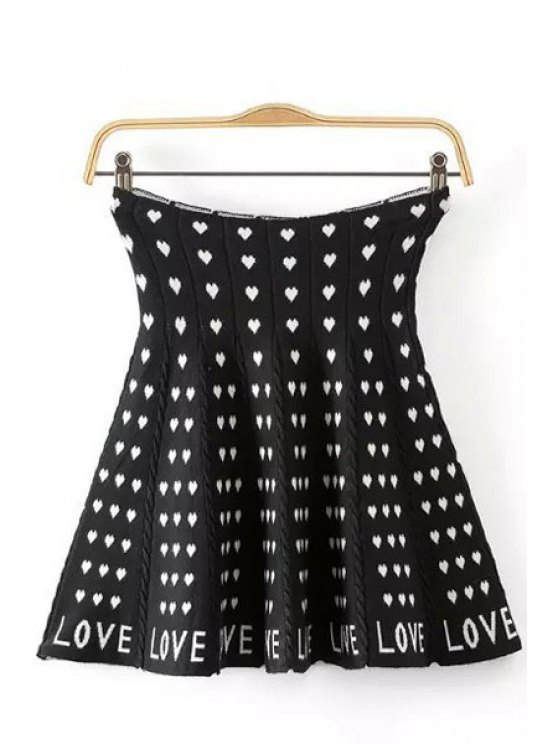 lady Heart Pattern Elastic Knitted Skirt - BLACK ONE SIZE(FIT SIZE XS TO M)