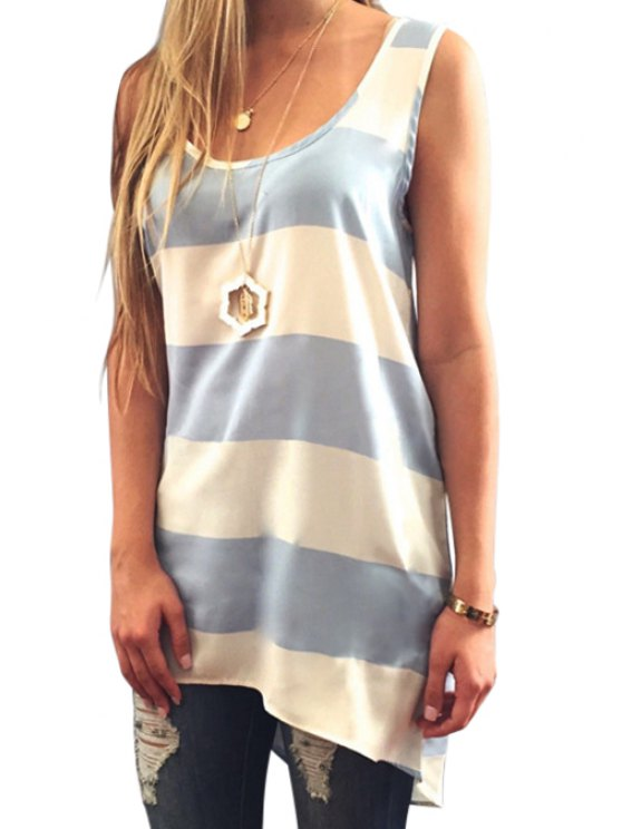 lady Stripes Scoop Neck Tank Top - GREY AND WHITE S