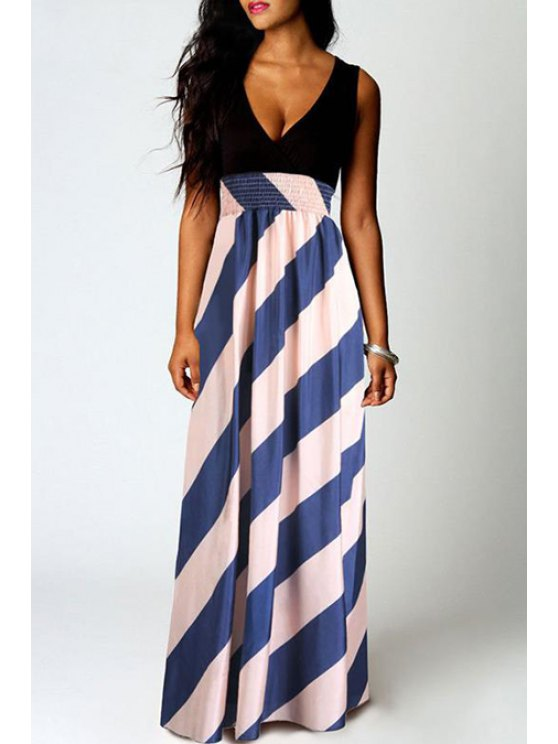 unique Stripe Spliced Sleeveless Maxi Dress - AS THE PICTURE S