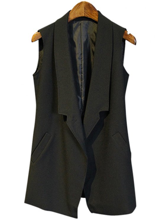 chic Pure Color Pocket Design Waistcoat - BLACK M