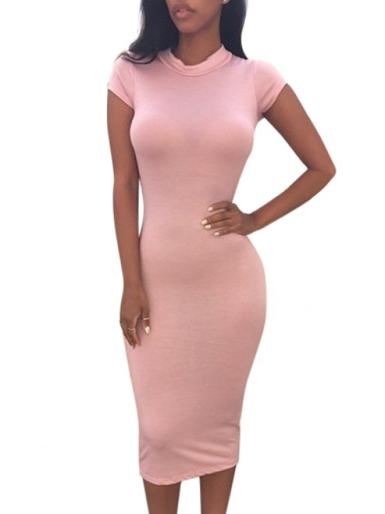 fashion Pure Color Stand Neck Short Sleeve Dress - PINK L