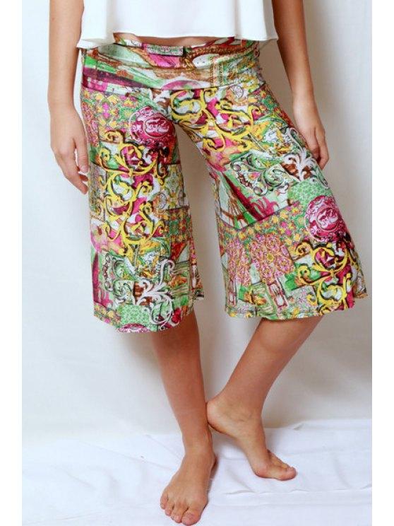 affordable Vintage Print Elastic Waist Fifth Pants - YELLOW S