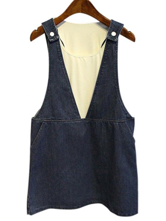 outfit Denim Braces Skirt + White Tank Top Women's Twinset - BLUE M
