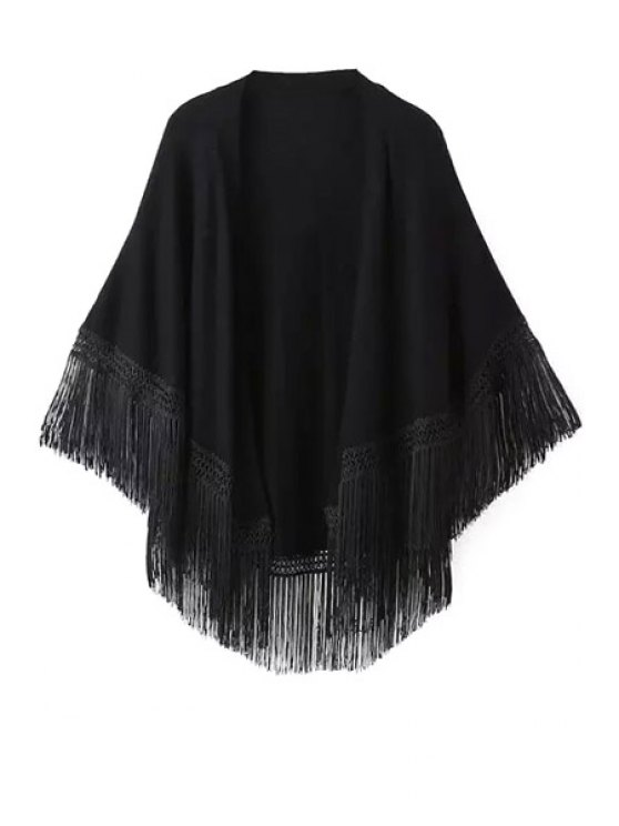 buy Solid Color Tassel Splicing Cardigan - BLACK S
