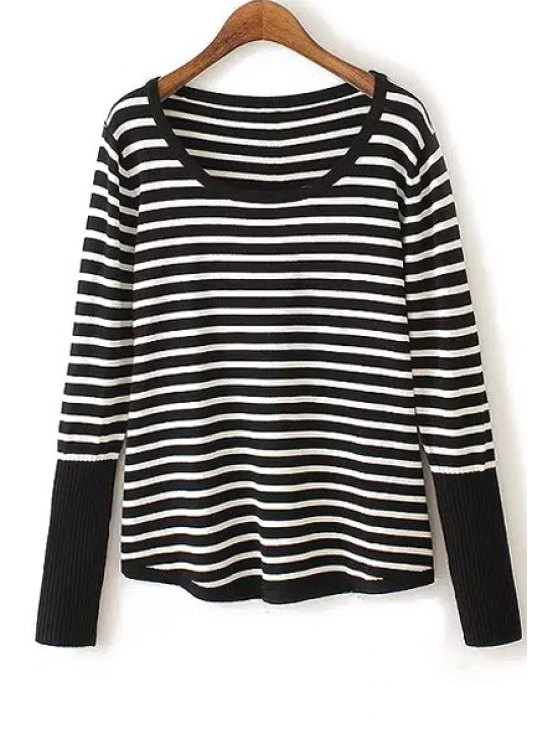best White Black Stripe Back Buttons Sweater - WHITE AND BLACK ONE SIZE(FIT SIZE XS TO M)