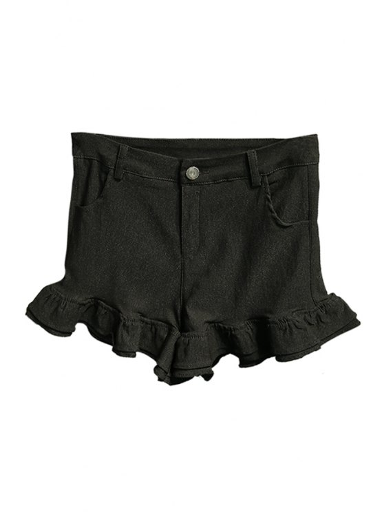 trendy Solid Color Straight Leg Flouncing Shorts - BLACK ONE SIZE(FIT SIZE XS TO M)