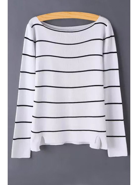 womens Stripe Slit Long Sleeve Sweater - WHITE ONE SIZE(FIT SIZE XS TO M)