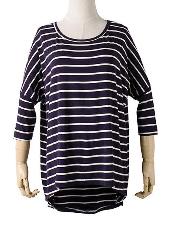 online Batwing Sleeve Striped Irregular Hem T-Shirt - PURPLISH BLUE ONE SIZE(FIT SIZE XS TO M)