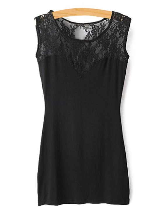 online Jewel Neck Lace Splicing See-Through Dress - BLACK S
