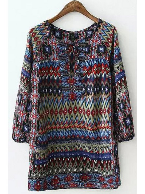 trendy Colorful Argyle Printed Long Sleeve Shirt - COLORMIX S