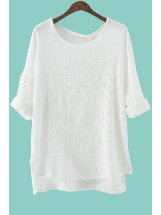 best Solid Color High-Low Hem Linen T-Shirt - WHITE ONE SIZE(FIT SIZE XS TO M)