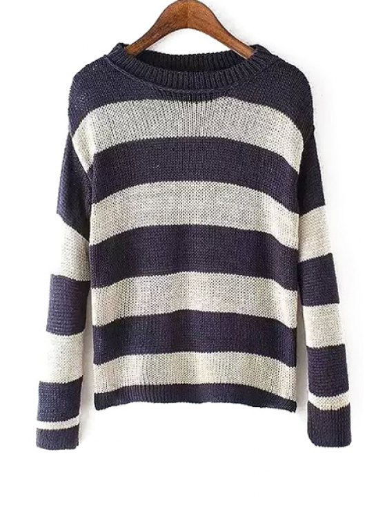 shops Long Sleeve Stripe Color Block Sweater - BLUE AND WHITE S