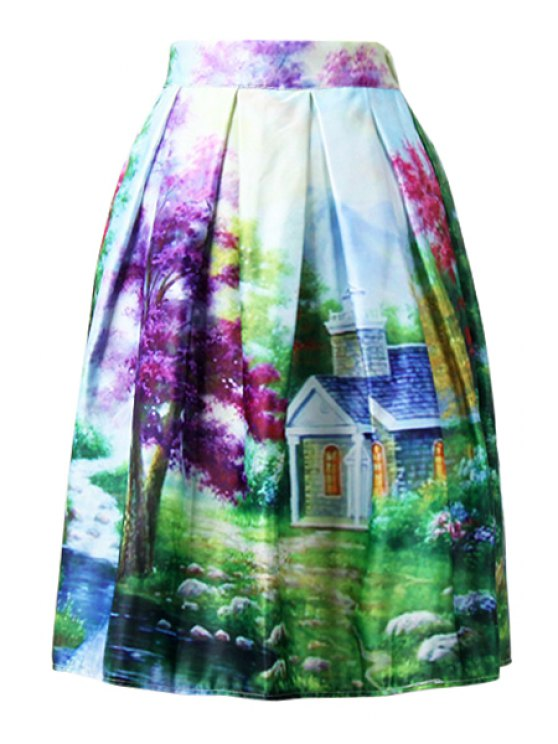 fancy Scenery Print Colorful Midi Skirt - GREEN ONE SIZE(FIT SIZE XS TO M)