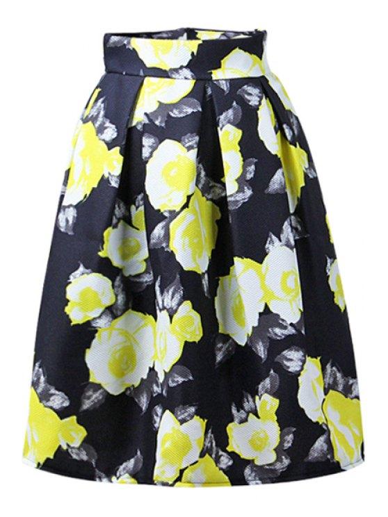 fashion High-Waisted Floral Print Midi Skirt - BLACK L