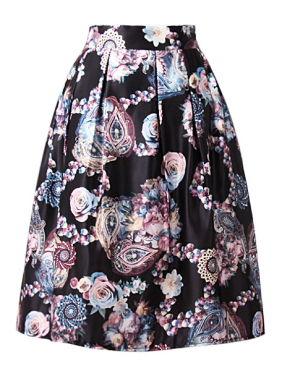chic A-Line Floral Print Midi Skirt - BLACK ONE SIZE(FIT SIZE XS TO M)